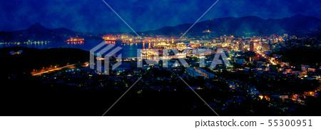 Night view of Sasebo city 55300951