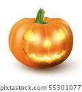 Lighten Jack O Lantern glowing halloween realistic smile face pumpkin with candle light inside 55301077