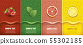 many fresh juice drops background with fruits 55302185