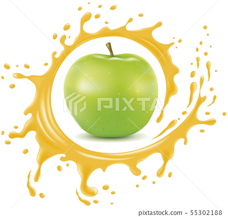 fresh apple with splash and many juice drops	 55302188