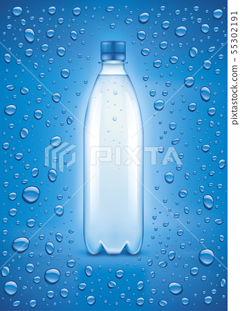 Blue background with many water drops and bottle 55302191