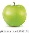 realistic green apple isolated on white 55302195