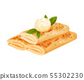 Pancakes in the form of a roll. Vector illustration on white background. 55302230