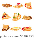 Set of pancakes in the form of a roll and a triangle. Vector illustration on white background. 55302253