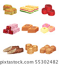 Set of images of oriental sweets. Vector illustration on white background. 55302482