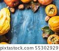 Thanksgiving harvest autumn fruit background. 55302929