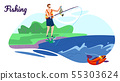Fisherman Stand with Rod on Coast Have Good Catch 55303624