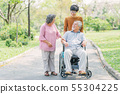 Senior Asian man in wheelchair with his wife and 55304225