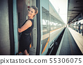 businessman with luggage traveling by speed train 55306075