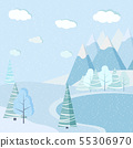 Beautiful Christmas winter frozen lake landscape background with mountains, snow, trees, spruces. 55306970
