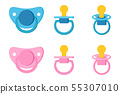 Set icons of pacifier baby dummy care nipple for newborn child. 55307010