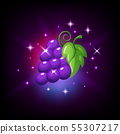 Purple grapes bunch with green leaf and sparkles, slot icon for online casino or logo for mobile 55307217