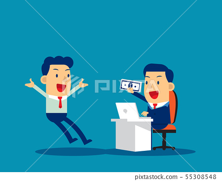Manager giving bonus with employee. Concept 55308548