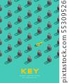Lock and key 3D isometric pattern, Password unlock 55309526