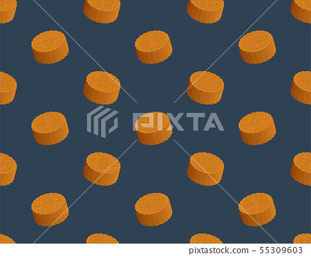 Chinese Mooncake 3D isometric seamless pattern, 55309603