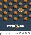 Chinese Mooncake 3D isometric pattern, Mid-autumn 55309608