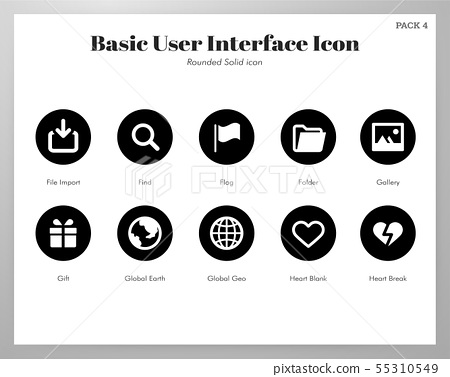 Basic UI icons rounded solid pack 55310549