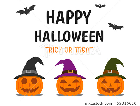 Halloween greeting card with smile pumpkin devil 55310620
