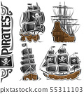Vector set of variety Pirate Ships 55311103