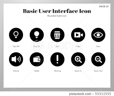 Basic UI icons rounded solid pack 55311555