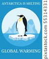 poster climate protection penguin on iceberg 55314331