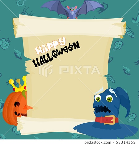 green Halloween poster with papyrus and witch hat 55314355