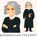 Senior judge man standing holding book 55314447