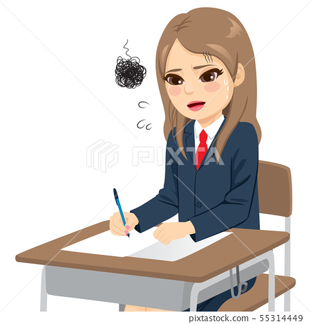 Young student girl stress anxious difficult exam 55314449