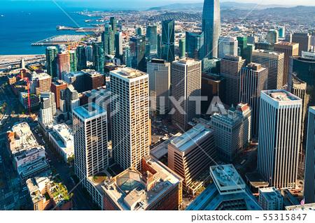 Downtown San Francisco aerial view 55315847