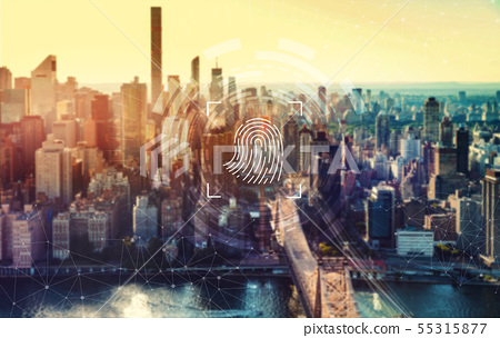 Fingerprint biometric identity with New York City 55315877