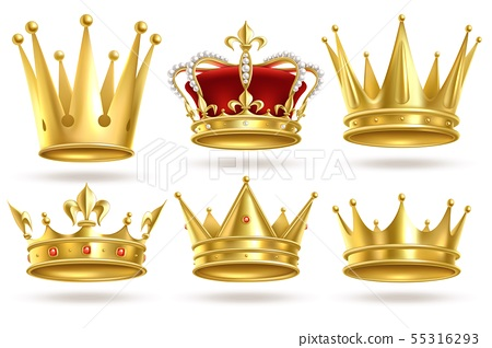 Realistic golden crowns. King, prince and queen gold crown and diadem royal heraldic decoration 55316293