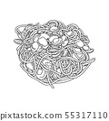 Spaghetti with clams vector illustration sketch 55317110