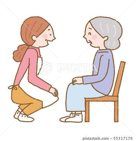 護理照顧者和老年婦女圖2c 55317178