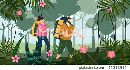 Tourists cute couple with map and backpacks performing outdoor touristic activity. Forest trees 55318915