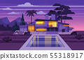 Modern villa on residence in exotic country night, expensive mansion in lahdscape tropics palm trees 55318917