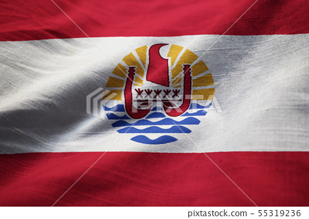 Closeup of Ruffled French Polynesia Flag 55319236