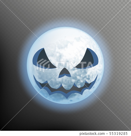 Halloween postcard with an ominous moon. Scary face on the Moon. Isolated on transparent background 55319285
