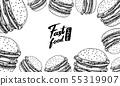 Fast food background. Vegetable Vegan Burger Burger Banner template in vintage style. Sketch card 55319907