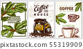 Coffee cards in vintage style. Hand drawn engraved poster, retro doodle sketch on white background 55319909