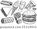 Fast food, burger and hamburger, tacos and hot dog, burrito and beer, drink and ice cream. Vintage 55319915