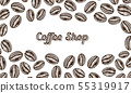 Coffee beans background in vintage style. Hand drawn engraved poster, retro doodle sketch and 55319917