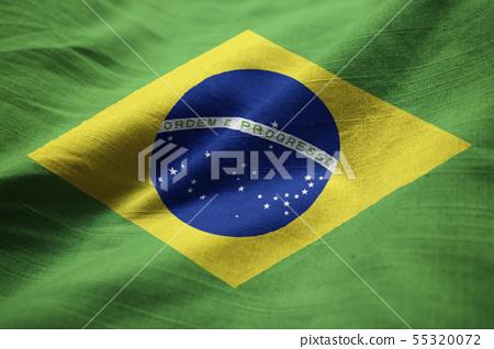 Brazil ruffled flag waving in the wind 55320072