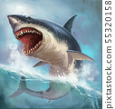 Great white shark on back realistic illustration. 55320158