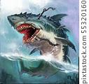 Shark monster background realistic illustration. 55320160