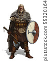 Viking with ax and shield on white realistic. 55320164