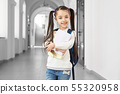 Wunderkind girl with notes and backpack. 55320958