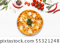 Cheesy Italian pizza with border of ingredients 55321248