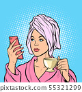 woman morning bathroom coffee smartphone 55321299
