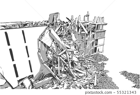 Collapsed building earthquake explosion fire 55321343