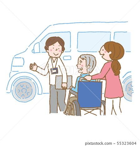 개호 노인 휠체어 케어 매니저 일러스트 갈색 55323604